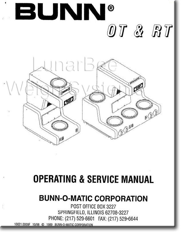 Bunn Coffee Maker Service Manual : Bunn Bunnomatic OT RT Coffee Maker Operation Service Repair Parts Manuals eBay