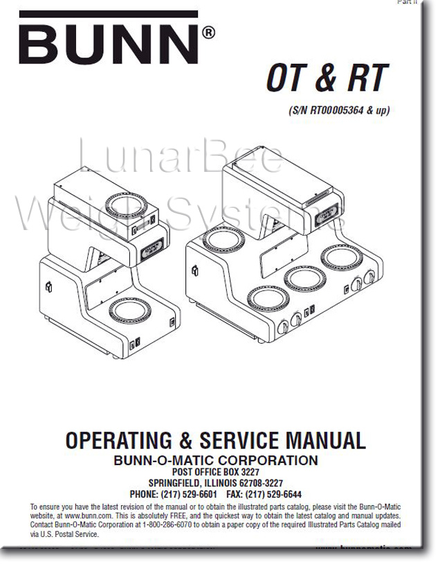 Bunn Coffee Maker Manual Troubleshooting : Bunn Bunnomatic OT RT Coffee Maker Operation Service Repair Parts Manuals eBay